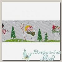 Тесьма декоративная *Blumentag* LRW-60 (001 белый/Снеговики) 10 см
