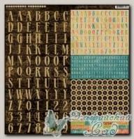 Набор наклеек алфавит из картона, серия *Tropical Travelogue*, 1 лист
