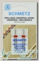 Иглы для бытовых швейных машин стандартные двойные Schmetz № 90/3, 2 шт