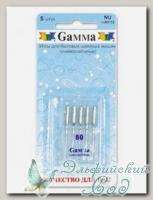 Иглы для швейных машин бытовых GAMMA NU №80 универсальные 5 шт