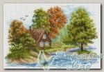 Канва с нанесенным рисунком *Пейзаж с домиком*, Матренин Посад 1653