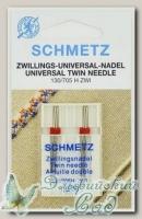 Иглы для бытовых швейных машин стандартные двойные Schmetz № 80/1,6, 2 шт