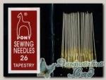 Иглы для вышивки гобеленовые Pony 5164, №26, 25 шт