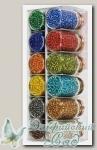 Набор бисера для рукоделия Златка (Zlatka) SGB (№2 ассорти - прозрачный с серебрян. отверстием)