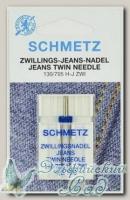 Иглы для бытовых швейных машин для джинсы двойные Schmetz № 100/4, 1 шт
