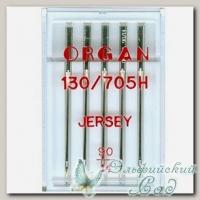 Иглы ORGAN для бытовых швейных машин - для джерси № 90, 5 шт