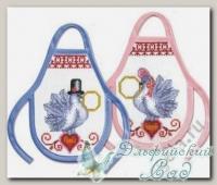 12.001.02 Набор для вышивания комплекта из двух фартучков *Голубки*, Марья Искусница