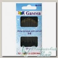 Иглы для шитья ручные №3-9 Gамма N-310, 20 шт