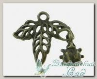 Подвески металлические *Божья коровка на листе* (античная бронза) CN-2100193 1 шт