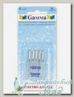 Иглы для швейных машин бытовых GAMMA NJ №100 для джинсы 5 шт