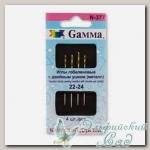 Иглы для вышивания гобеленовые с двойным ушком (острие закругленное) Gамма N-377, №22-24, 4 шт