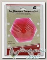 Набор лекал для квилтинга *Шестиугольники* Hemline ERGG07.PNK 9 шт