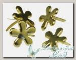 Клипсы (брадс) *Цветок золотистый* 7835506 Rayher, d=12 мм, 50 шт