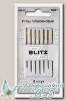 Иглы для шитья ручные с позолоченным ушком, острые BLITZ HN-32 300T1, 6 шт