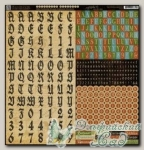 Набор наклеек алфавит из картона, серия *Olde Curiosity Shoppe*, 1 лист