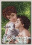 Канва с нанесенным рисунком *Дети и овечка*, Матренин Посад 1616