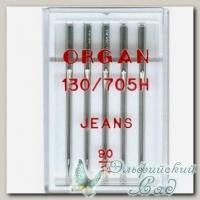 Иглы ORGAN для бытовых швейных машин - для джинсы № 90, 5 шт