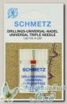 Иглы для бытовых швейных машин стандартные тройные Schmetz № 80/2.5, 1 шт