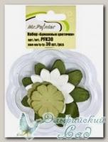 Бумажные цветочки (цвет - зелено-белый), Mr.Painter