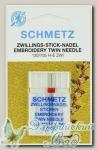 Иглы для бытовых швейных машин для вышивания двойные Schmetz № 75/2, 1 шт
