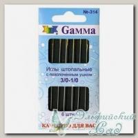 Иглы швейные ручные для штопки №3/0-1/0 Gамма N-314, 6 шт