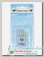 Иглы для швейных машин бытовых GAMMA NU №120 универсальные 5 шт