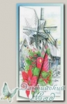 Набор для создания открытки с объемным рисунком *Ветряная мельница и пуансеттия*, Reddy
