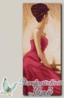 Канва с нанесенным рисунком *Дама в красном* Матренин Посад 1055