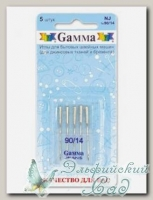 Иглы для швейных машин бытовых GAMMA NJ №90 для джинсы 5 шт