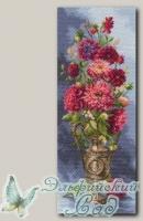 Канва с нанесенным рисунком *Мечтательные георгины*, Матренин Посад 1705