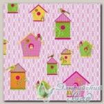 Салфетка для декупажа трехслойная *Домики для птиц, розовый* 33 х 33 см 1 ш