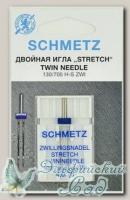 Иглы для бытовых швейных машин стретч двойные Schmetz № 75/4, 1 шт