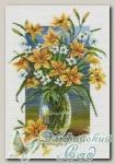 Канва с нанесенным рисунком *Лилейник и анемоны*, Матренин Посад 1708