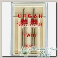 Иглы ORGAN для бытовых швейных машин двойные 90/2, 2 шт