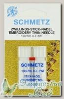 Иглы для бытовых швейных машин для вышивания двойные Schmetz № 75/3, 1 шт