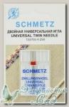 Иглы для бытовых швейных машин стандартные двойные Schmetz № 80/2, 2 шт