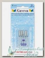 Иглы для швейных машин бытовых GAMMA NJ №80 для джинсы 5 шт