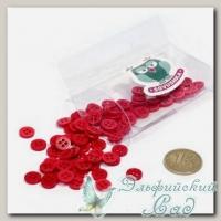 Пуговицы декоративные для скрапбукинга *Мини* (цвет - красный) 80 шт КЛ21636