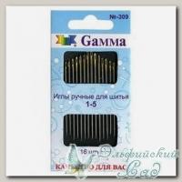 Иглы для шитья ручные №1-5 Gамма N-309, 16 шт